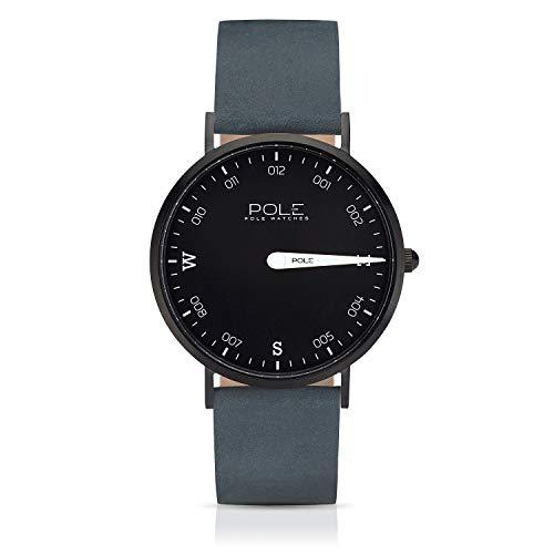 Pole Watches Herren Quarz Analoge Einzeigeruhr in Schwarz und Lederarmband in Blau | Modell Compass Cosmos B-1002NE-BL05