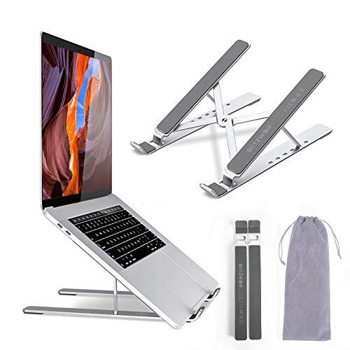 BlitzWolf Soporte para Computadora Portátil, Soporte para Tableta Ajustable de Aluminio Portátil con Ventilación, para MacBook Pro Air, iPad, DELL, HP, Sony, Otras Computadoras Portátiles de 10'-17'