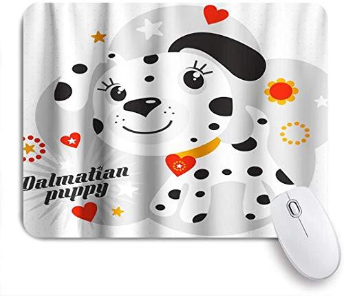 Benutzerdefiniertes Büro Mauspad,Dalmatiner Welpe Tierdekoration Herzen Sterne Halskette,Anti-slip Rubber Base Gaming Mouse Pad Mat