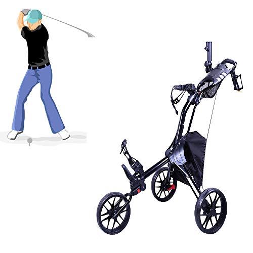 MJLXY Fold Golf Cart-Black Ajustable Chariot De Golf 3 Roues...