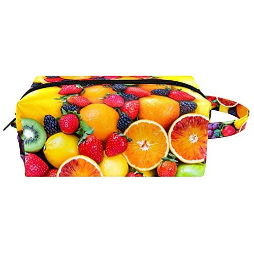 Bolsa de cosméticos de viaje con cremallera bolsas de maquillaje para mujer multifunción organizador bolsa de almacenamiento organizador para monedero fruta fresca fresa morera naranja uva
