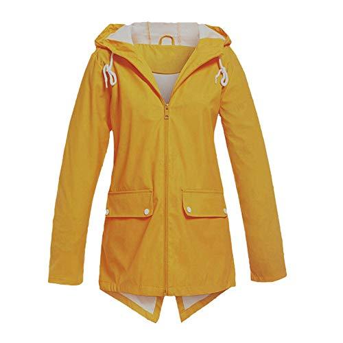 iHENGH Damen Frühling Herbst Bequem Mantel Lässig Mode Jacke Frauen Feste Regenjacke im Freien Plus wasserdichter mit Kapuze Regenmantel Winddicht(Gelb-4, L)