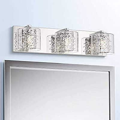 "Jungle Modern Wall Light LED Chrome Hardwired 20 1/2"" Wide 3-Light Fixture Crystal Beading Clear Glass for Bathroom Vanity Mirror - Possini Euro Design"