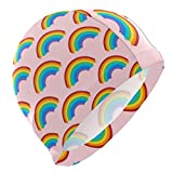 Tcerlcir Gorro Natación Patrón de Abanico Arco Iris Rosa Gorro de Piscina para Hombre y Mujer Hecho de Silicona Ideal para Pelo Largo y Corto