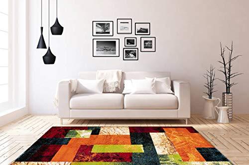 One Couture Rainbow Flachflor Teppich Modern Graphic Carpet Heatset Kasten Design Wohnzimmerteppich Esszimmerteppich Teppichläufer Flur-Läufer, Größe:80cm x 150cm