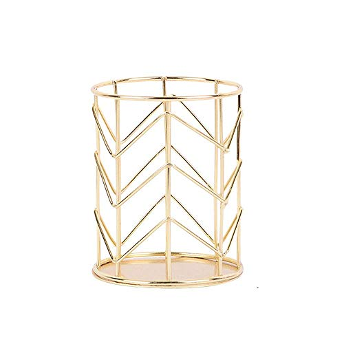 Weyoo Pen Holder, Wire Metal Pencil Holder, Decorative Desk Storage Organizer Container for Stationery and Desk Accessories (Gold 3, 1-PACK)