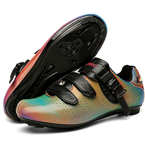 Zapatos de Ciclismo de Carretera Para Hombre, Zapatos de Ciclismo Para Mujer, Zapatos de Bicicleta Peloton Transpirables y Ligeros, Zapatos de Montar SPD Para Interiores / Exteriores,Multicolour-39EU