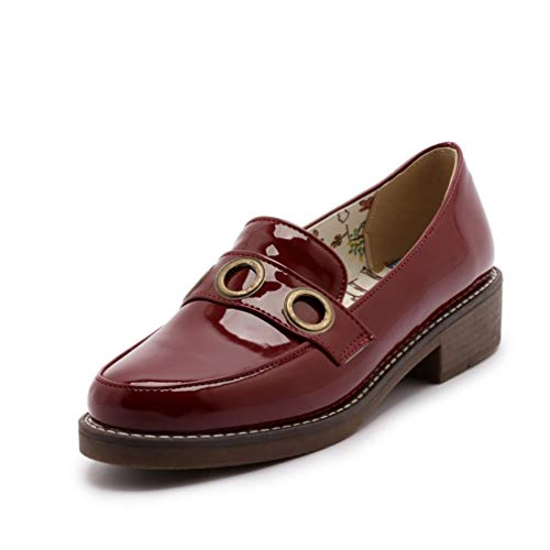 Dames Oxfords-schoenen Ronde Neus Slip-on Platform Loafers Casual Ondiepe Mond Derby-schoenen Metalen Decoratie Kantoor Carrière Werkvlakken