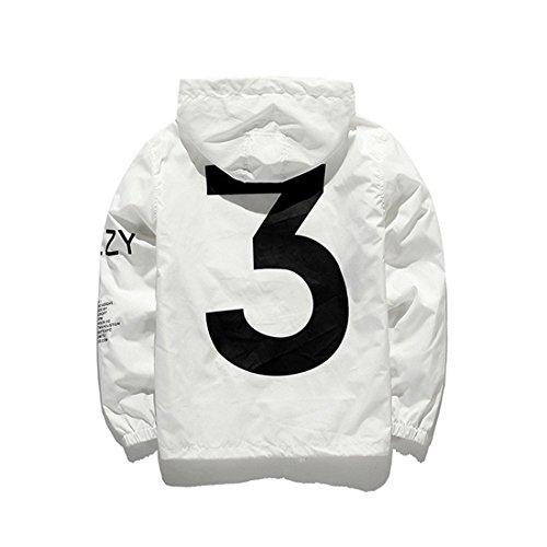 AKAUFENG Jacke Herren Frühling mit Kapuze, Laufjacke Windbreaker Coole Streetwear Unisex Jungen und Mädchen (XS, Weiß)