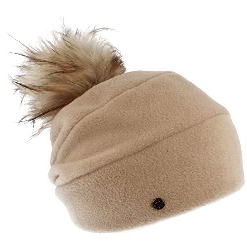 LOEVENICH Damen Winter-Mütze | Fleece-Mütze | Beanie aus weichem Polar Soft Fleece -mit Kunstfell-Bommel