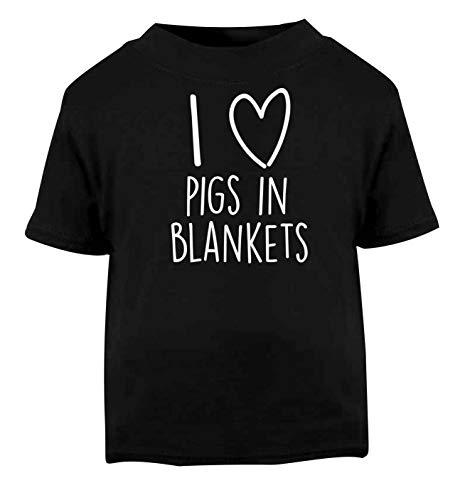 Flox Creative T-Shirt pour bébé I Love Pigs in Blankets - Noir - 1-2 Ans
