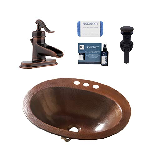 Sinkology Seville Copper Drop-in Bath Sink with Overflow in Aged Copper
