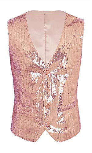 Everbeauty Sequin Rose Gold Tuxedo Waistcoat 2020 Gorgeous Party Sequins Vest Tuxedo Waistcoat