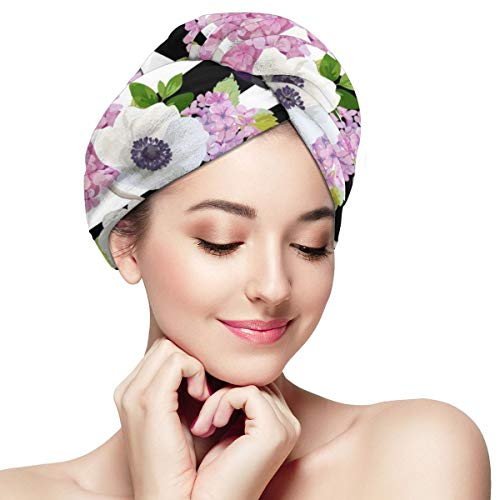 Black and White Striped Spring Flowers Butterfly Dry Hair Cap Microfibre Hair Towel Wraps Ultra Absorbent Quick Dry Twist Turban with Button for Dryin