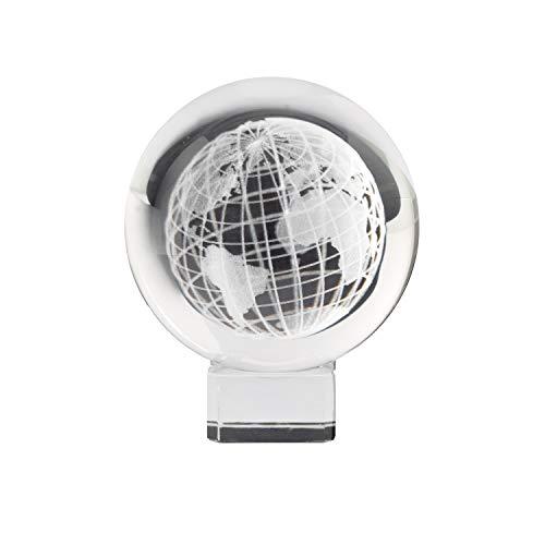 Yeti-Gold 8cm Glaskugel mit innerem gelasertem Globus - 3D-Effekt