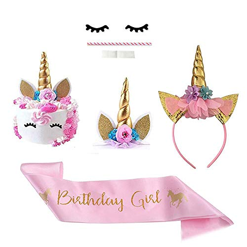 Decoración para tarta con diseño de unicornio, color dorado