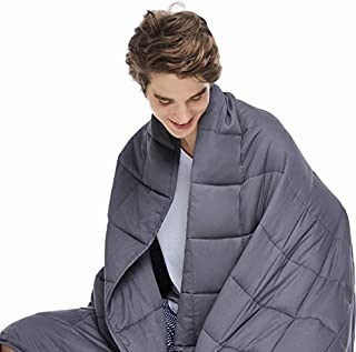 ZonLi Adults Weighted Blanket 20 lbs(60''x80'', Grey, Queen Size), Cooling Weighted Blanket for Adult, 100% Cotton Material with Glass Beads