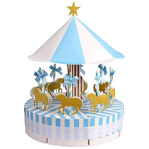 Fauge Scatole per bomboniere Carousel Scatole per bomboniere per Matrimoni, Feste, Baby Shower, Decorazioni Natalizie, Blu 1 Set