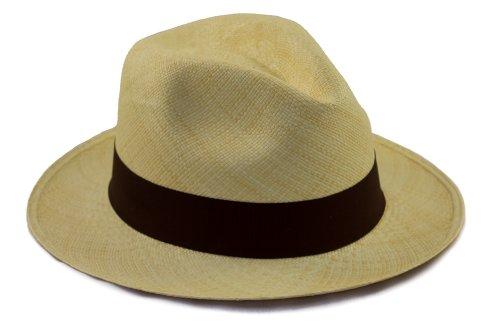 Tumia - Cappello Panama in Stile Fedora Originale - Arrotolabile - Tessuto a Mano.