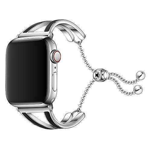 Dee Plus Cinturino Compatibile per Apple Watch 38mm 42mm, Bracciale Acciaio Inossidabile Band per iWatch Series 4/3/2/1 con Fibbia Regolabile, Bracciale Ciondolo Femminile, con Protezione per Schermo