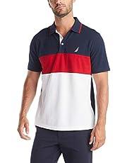 Nautica Short Sleeve 100% Cotton Pique Color Block Polo Shirt