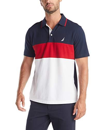 Nautica Men's Short Sleeve 100% Cotton Pique Color Block Polo Shirt, Navy, X-Large