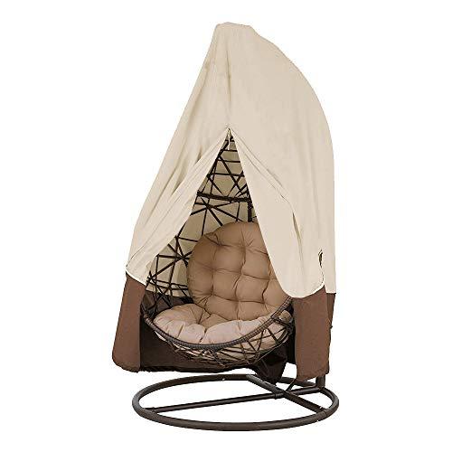 Funda de sillón colgante para jardín de mimbre de mimbre, impermeable, funda de protección para huevos, silla, funda de sillón basculante, resistente al agua y al polvo (beige, 190 x 115 cm)