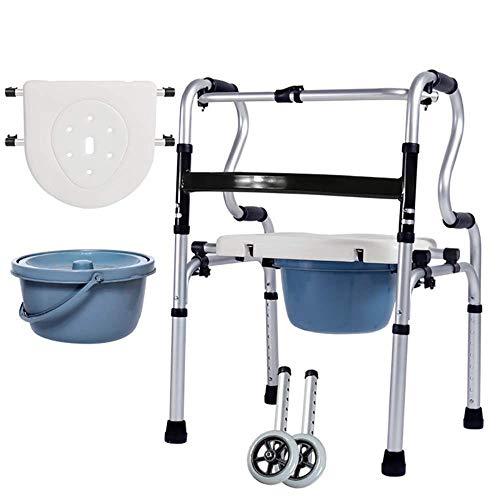 Opvouwbare Seniors Commode Stoel en Gecapitonneerde Toilet Zitting, Aluminium Walker Verstelbare Hoogte 2 Wielen, voor Oudere Senioren, Handicapped,Grootouders