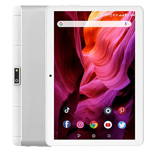Tablet 10 Inch, 3G Phone Tablets with 32GB Storage, Android 10.0 Tablet PC, Dual SIM Card Slots, Quad-Core Processor, HD Touchscreen, WiFi, Bluetooth, GPS 【2021 Newest Silver】