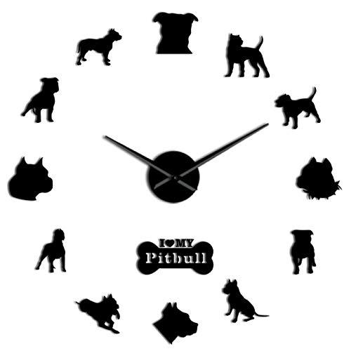 xinxin Relojes de Pared Relojes de Pared Pitbull Laser Cut 3D DIY Mudo Perro Cachorro Animales Reloj acrílico Pegatinas de Pared para Sala de Estar Regalos para Amantes de Pitbull