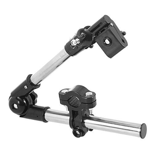 OUNONA - Soporte de sombrilla ajustable para bicicleta, silla de ruedas y cochecito (negro)