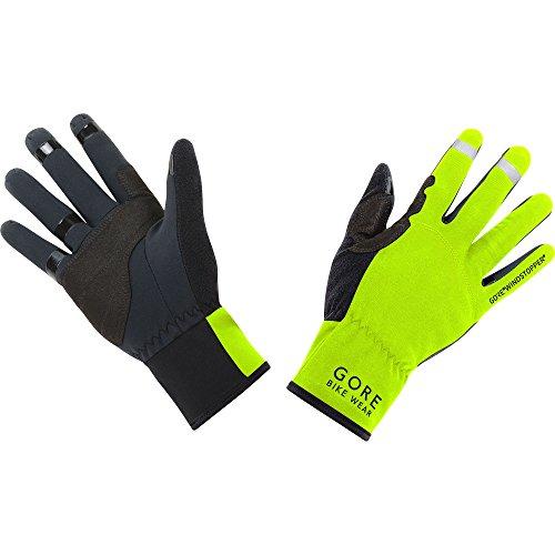 GORE BIKE WEAR, Guantes Unisex para ciclismo, GORE WINDSTOPPER, UNIVERSAL Gloves, Talla 8, Negro/Amarillo neón, GWSUNI