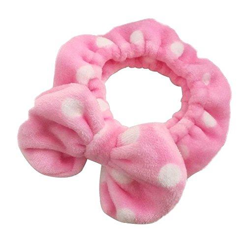 Shintop Make-up Stirnband Superweiches Kosmetik Haarband Haarreif aus Flanell für Spa Gesichtsreinigung Gesichtspflege (Rosa Punktmuster)