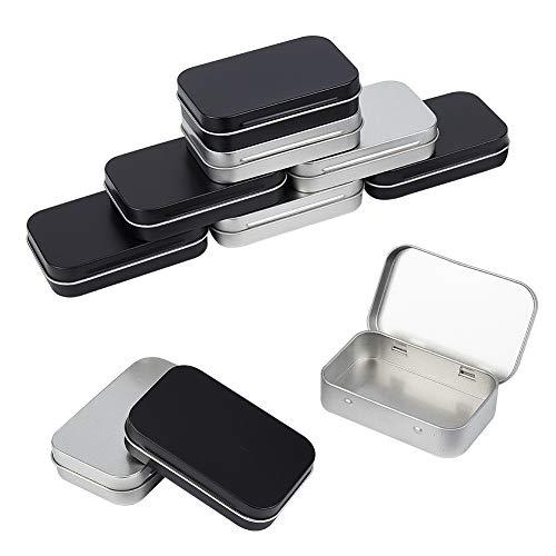 PandaHall 10 Cajas de Metal pequeñas rectangulares vacías con bisagras Cajas contenedores de 3.7 x 2.3 x 0.86 Pulgadas Plata y Negro Mini Caja portátil pequeño Kit de Almacenamiento Organizador