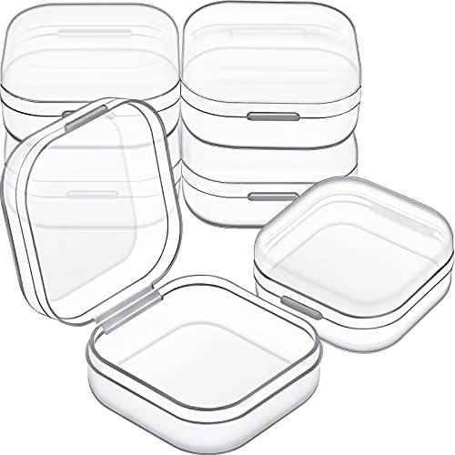 6 Cajas de Almacenamiento de Cuentas Contenedores de Plástico Transparente Pequeños con Tapa Abatible de Recolección Artículos Pequeños, Joyerías (1,37 x 1,37 x 0,7 Pulgadas)