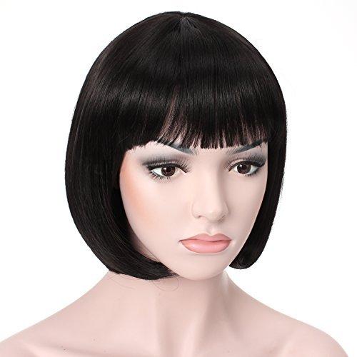 "OneDor 10"" Short Straight Hair Flapper Cosplay Costume Bob Wig (1B - Off Black)"