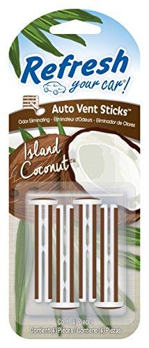 Refresh Your Car! E300908700 Vent Sticks, 4 Per Pack, Island Coconut Scent