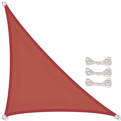 CelinaSun Sonnensegel inkl Befestigungsseile PES Polyester wasserabweisend imprägniert Dreieck rechtwinklig 2,5 x 2,5 x 3,5 m terrakotta