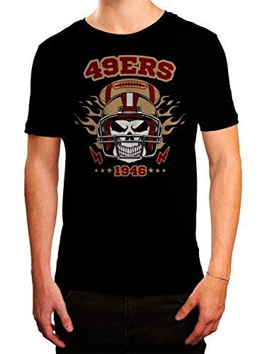 49ers Skull Premium T-Shirt American Football Totenkopf Football-Helm Herren Shirt, Farbe:Schwarz (Deep Black L190);Größe:4XL