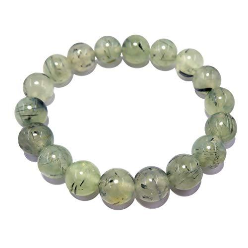 Satinado cristales Prehnita pulsera 9mm boutique redondo auténtica Gemstone elástico verde negro hecho a mano B01
