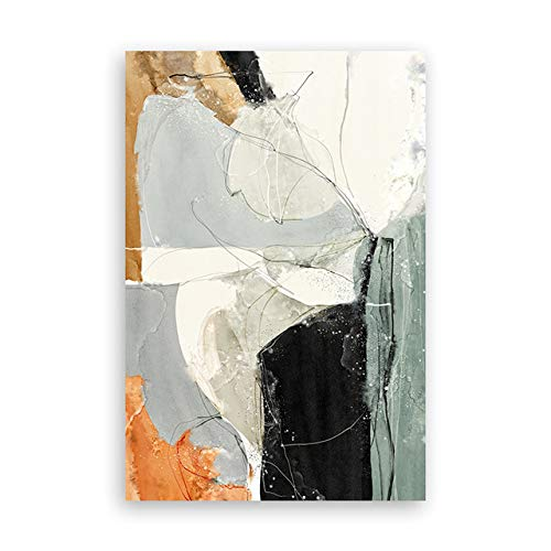 N / A White Orange Black Abstract Wall Art Canvas Painting Poster and Woodblock Living Room Decoration Painting Wall Picture Frameless 55X110cm