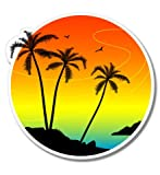 GT Graphics Tropical Sunset Vacation Palm Trees - 3' Vinyl Sticker - for Car Laptop I-Pad Phone Helmet Hard Hat - Waterproof Decal