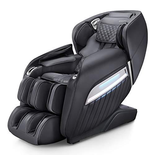 Massagesessel, Naipo Massagestuhl elektrisch für den Ganzkörper mit Wärmefunktion, Schwerelosigkeit, Luftdruckmassage, USB, Bluetooth, Shiatsu Massagesitz Relaxsessel für Zuhause/Büro, A350 Schwarz
