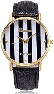 Geneva Leather Watch With Golden Stripped Dial Black