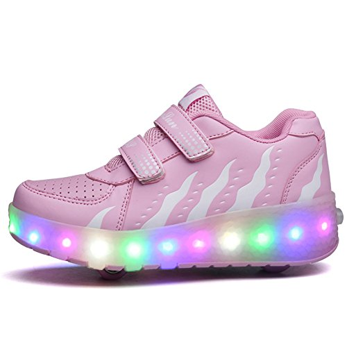 Unisex Kinder Roller LED Schuhe Leuchten Doppelräder Skateboard Turnschuhe Outdoor Sports Training Rollschuh Schuhe für Jungen Mädchen (35 EU, Pulverweiß)