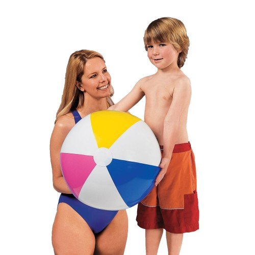 INTEX Classic Inflatable Glossy Panel Colorful Beach Ball (Set of 2)