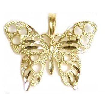 14K Yellow Gold Charm Butterfly Pendant Jewelry 17mm