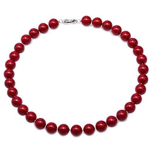 JYX Perlenkette Echte 12 mm Runde Rote Südsee Muschel Perlen Halskette für Damen 45 cm