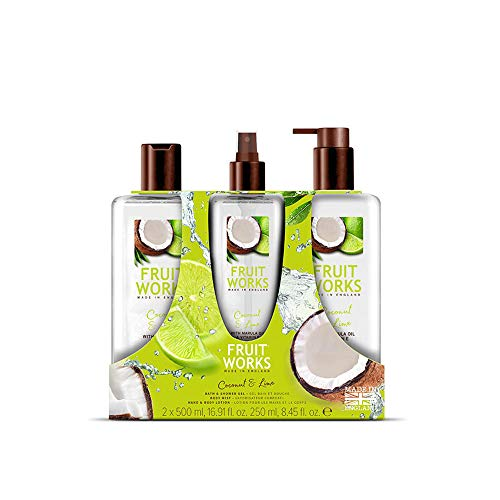 Fruit Works Coconut & Lime Trio Gift Set Containing 1x 500ml Bath & Shower Gel, 1x 250ml Body Mist & 1x 500ml Hand & Body Lotion With Natural Extracts