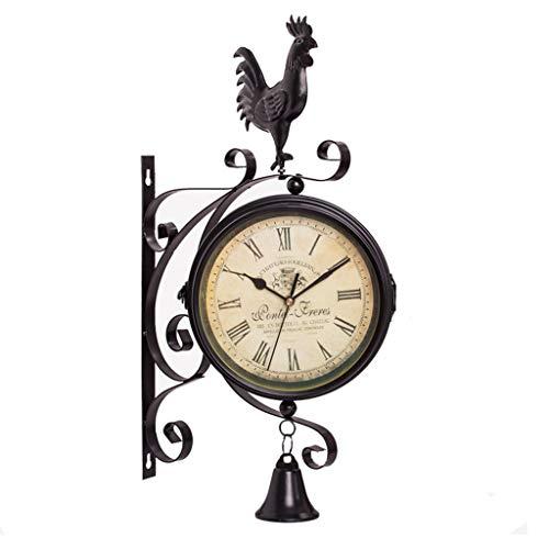 Reloj de Pared de Doble Cara de Hierro Forjado Europeo Bell Jardín Creativo Reloj de Pared Moderno Salón Reloj de Pared Dormitorio Reloj de Pared silencioso 38 cm (Color : A)